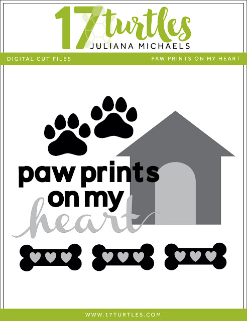 Paw Prints Free Digital Cut File by Juliana Michaels 17turtles.com