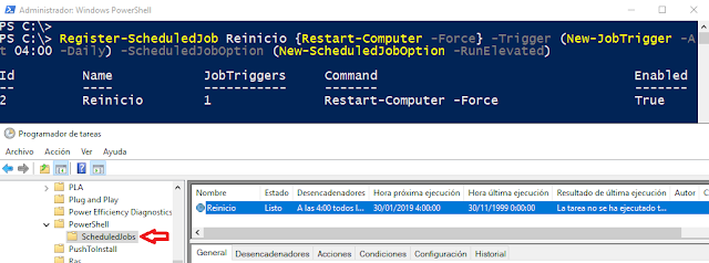 Windows: Programar apagado o reinicio PowerShell