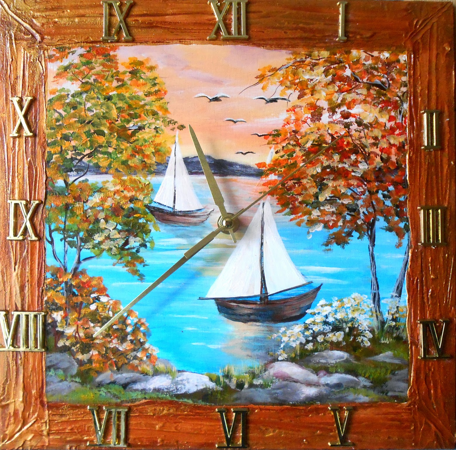 Wooden wall clock with painting in handmade - Sunset and  Sailboat in style impressionism