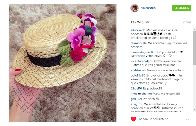 Foto de instagram de Silvia mostrando su canotier de flores para boda