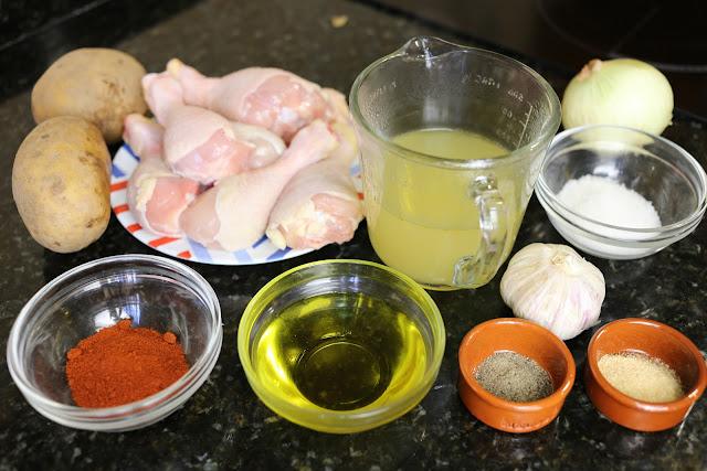 Ingredientes para muslos de pollo al pimentón de la Vera