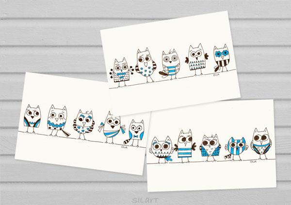 Drei illustrierte Karten mit Eulenmotiven