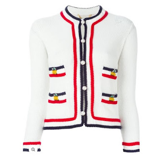 Muveil blue and red contrast stripe white cardigan