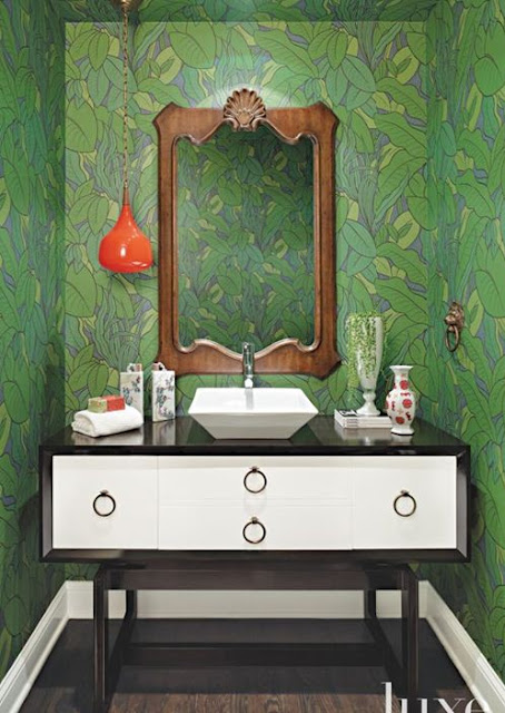 bathroom modern with antique mirror green walls