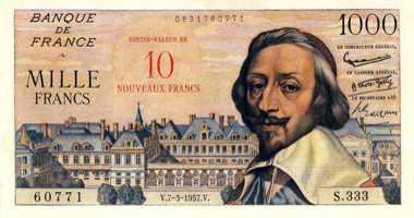 billet en anciens francs et billet avec la valeur en nouveaux francs surchargée en rouge (source ebay.fr)