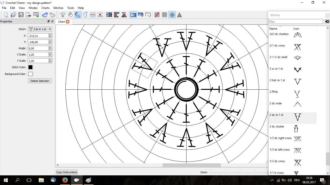 Übersicht kostenloser Software zur Erstellung von Häkelmustern oder Häkelschrift - Stitchworks Crochet Charts - Stitchfiddle - Inkscape - StitchIn Crochet