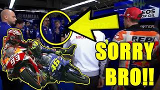 NYESEGH..!! Marquez DITOLAK Sama Crew Yamaha Saat Mau Minta Maaf Ke Rossi