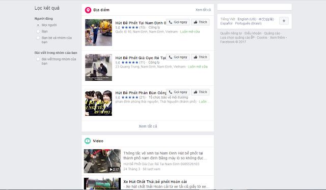 Hình ảnh những kết quả trả về khi search từ khóa hút bể phốt tại Nam Định