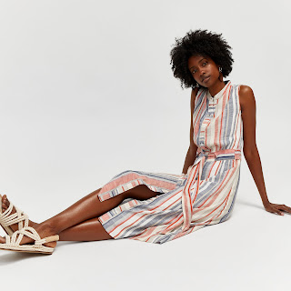 image result asos  Warehouse Stripe Linen Shirt Dress - Stone