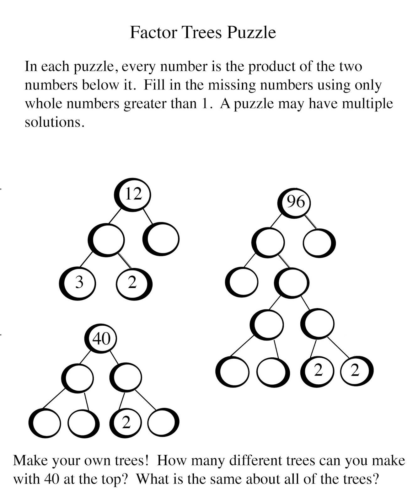 Math Problems Factor Trees
