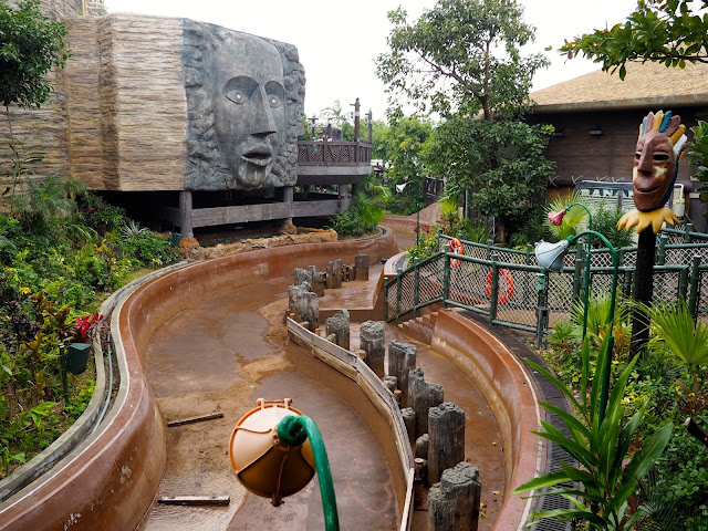 The Rapids ride, without water, in the Rainforest area of Ocean Park, Hong Kong