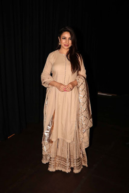 Tisca Chopra in Gorgeous Beige and Gold Sharara Outfit by Sukriti and Aakriti