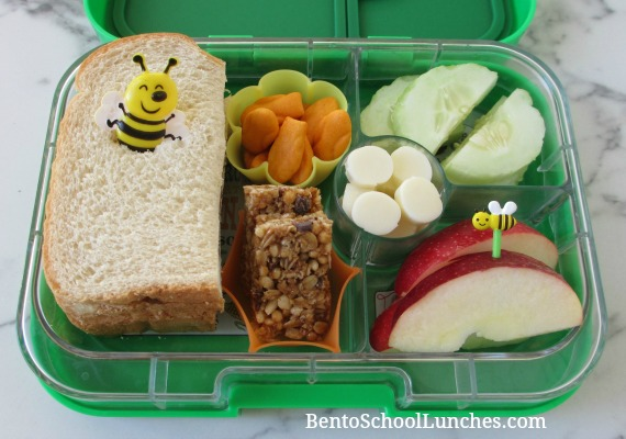 Bee pick on a simple sandwich lunch