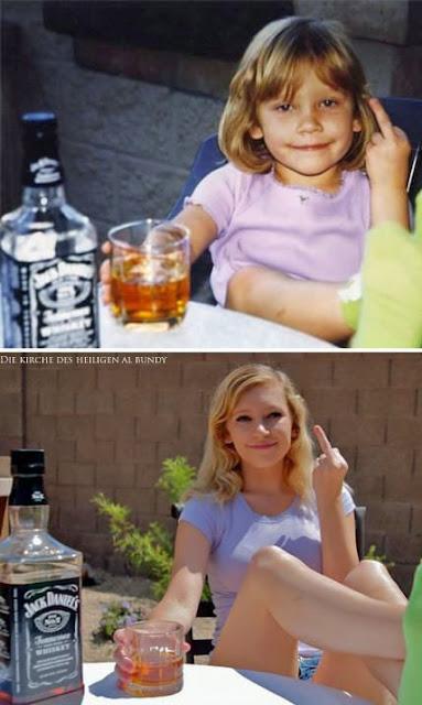 Frau und Alkohol - lustiges damals und heute Bild - Jack Daniels