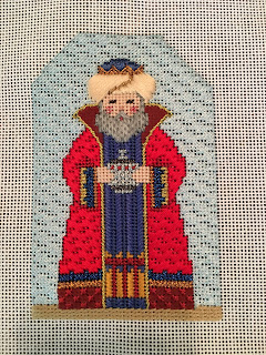 carol dupree needlepoint nativity red wiseman