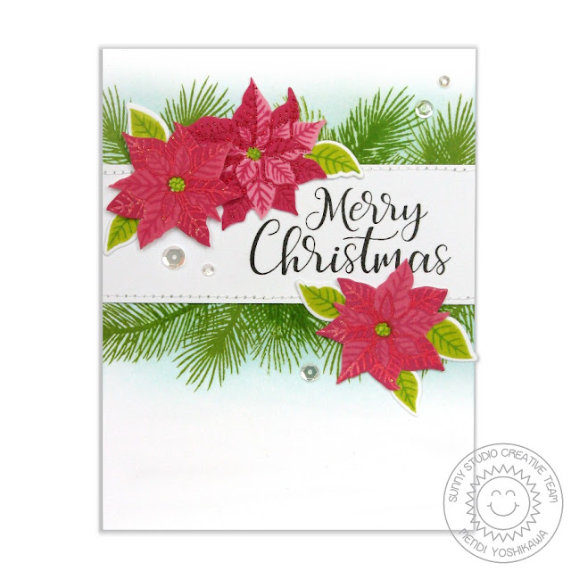 Sunny Studio Stamps: Petite Poinsettias & Festive Greetings Poinsettia Christmas Card by Mendi Yoshikawa