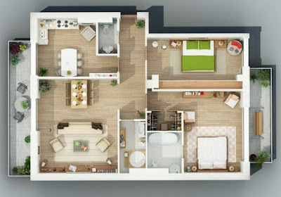 house floor plans 3D - modern two bedroom apartment design