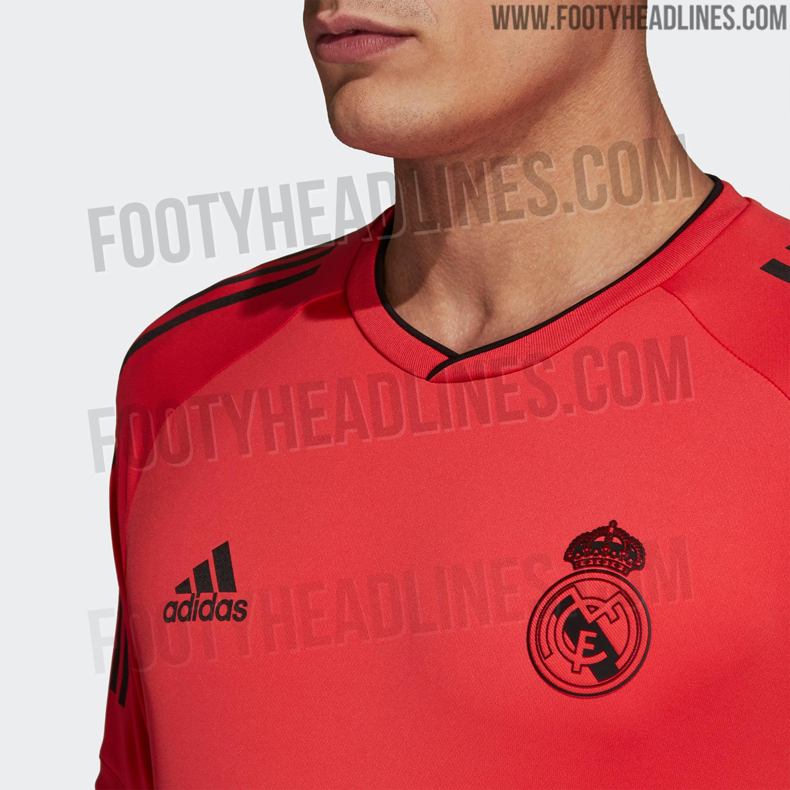 The second Adidas Real Madrid 2018-2019 UEFA Champions League training  jersey inverts the colors of the first one - it is black and red. 9c8852af0