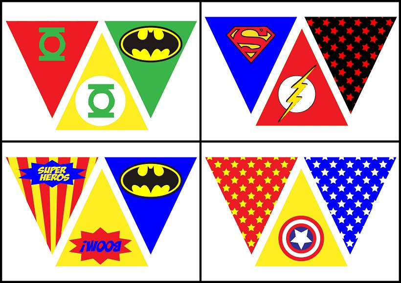 superheroes free printable bunting oh my fiesta for geeks