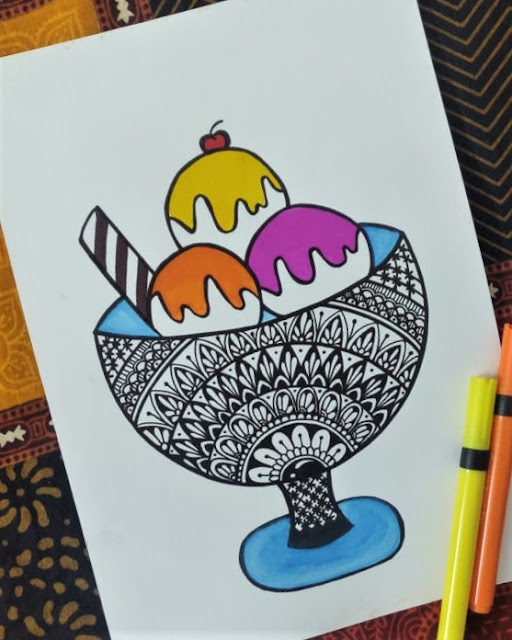 Simple and easy to draw colorful Ice cream Mandala Sketch painting