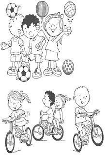 Brincadeiras crianças-bola e bicicleta