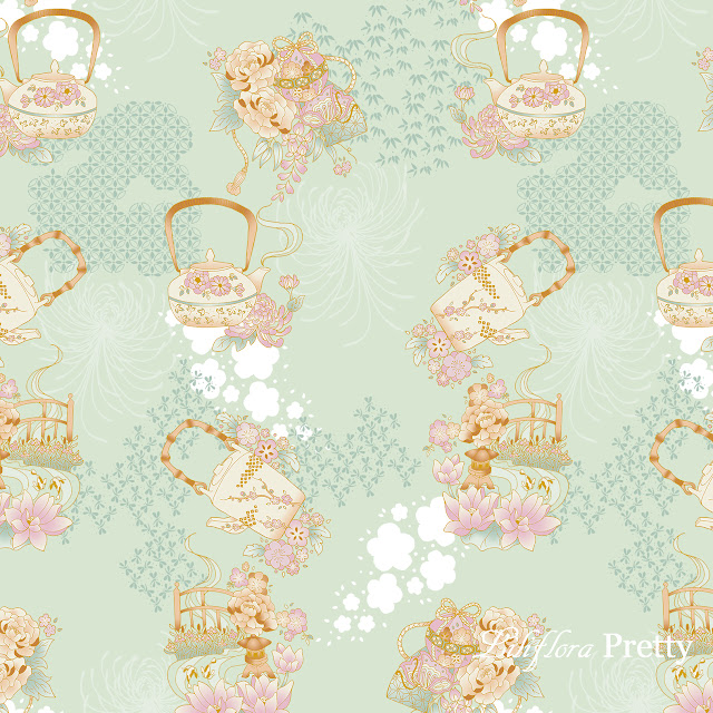 spoonflower repeat pattern teapots lotus peony lantern fan butterfly