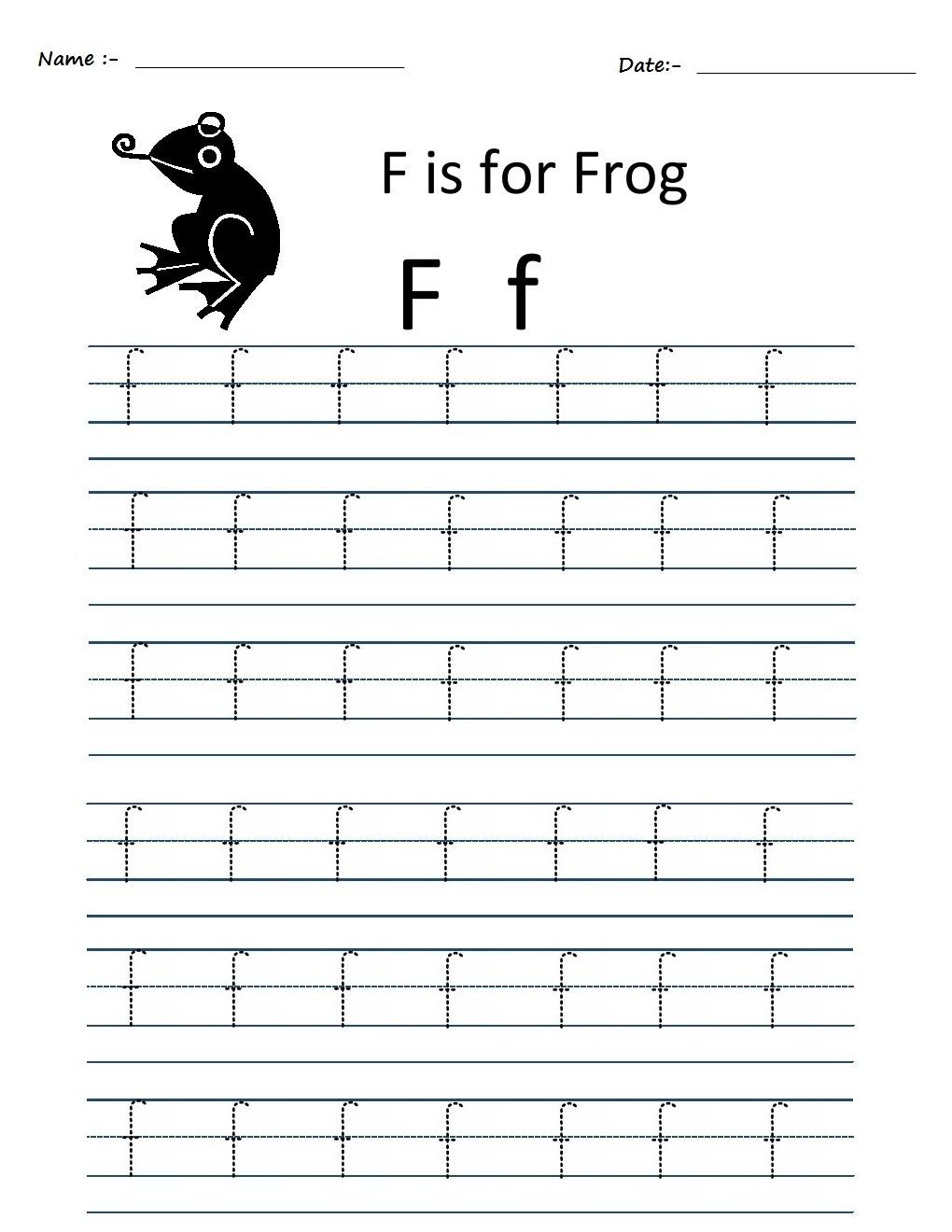 Workbooks tracing worksheets for kindergarten : Kindergarten Worksheets: Alphabet Tracing Worksheets - f