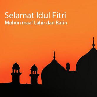 Gambar Selamat Idul Fitri Terbaru Mohon Maaf Lahir Batin Masjid Oranye