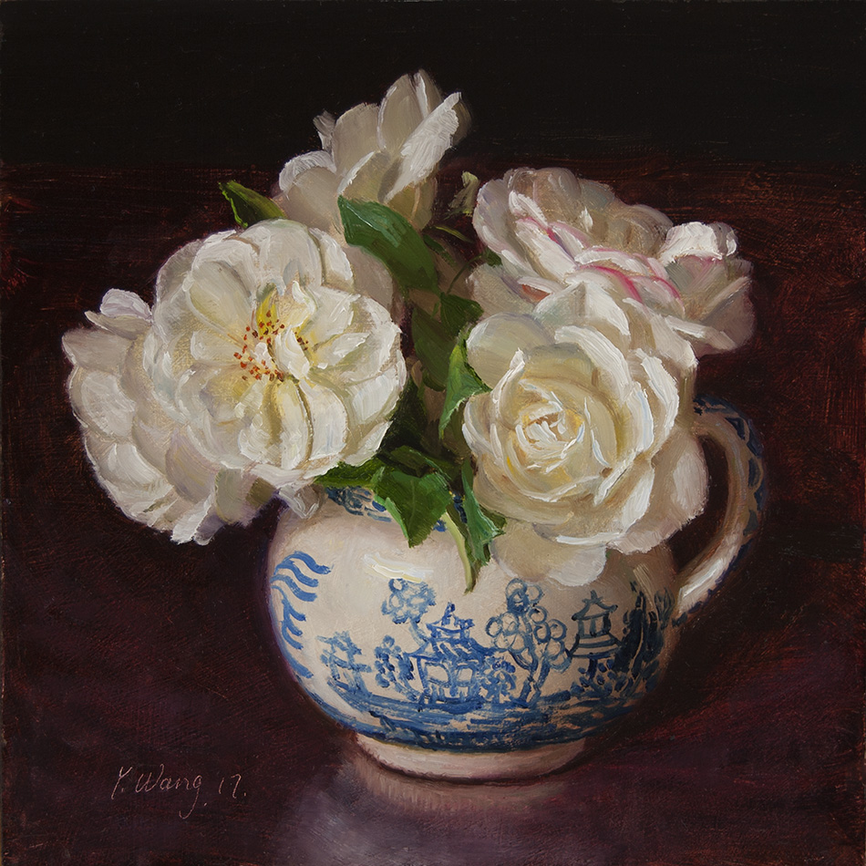 Wang Fine Art White Rose Flower Still Life Oil Painting Original