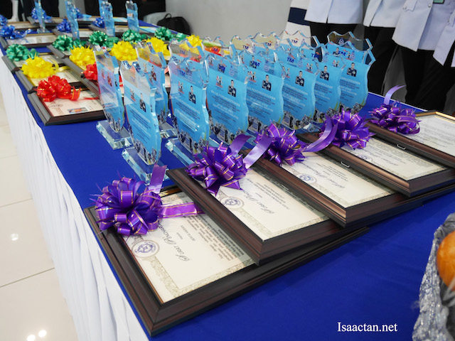 All the awards were arranged nicely, to be given away in the ceremony