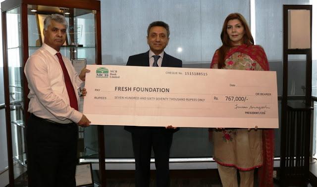 MCB Bank Ltd. donates PKR 767,000 to Fresh Foundation