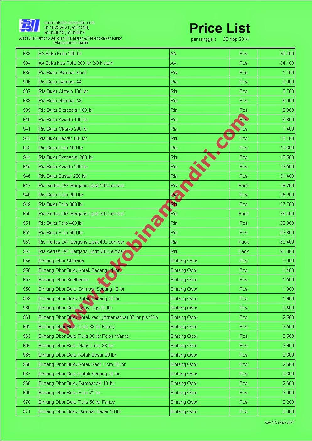 daftar harga alat tulis sekolah 2015  | CV. Bina Mandiri - toko alat tulis kantor agen perlengkapan sekolah