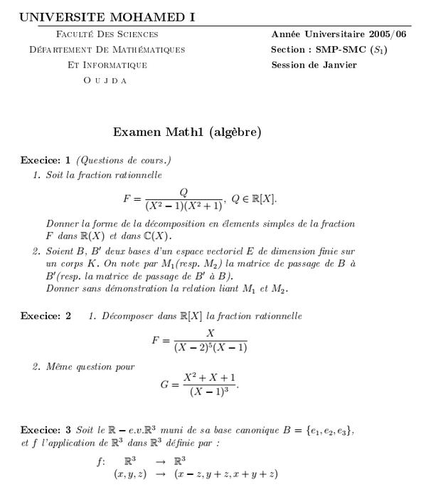 examen algèbre 1 2005/06 SMPC FSO