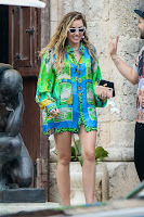 Miley Cyrus hot legs in Green Shirt Dress