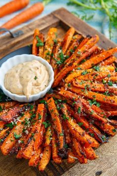 Sweet roasted carrot fries covered with crispy parmesan cheese!