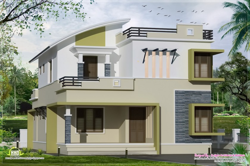 Two floor houses with 3rd floor serving as a roof deck for 2nd floor balcony designs
