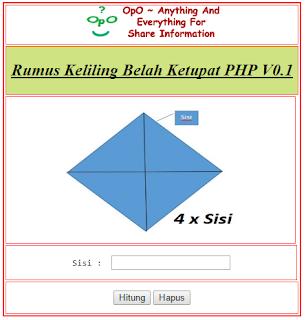 Menghitung Keliling Belah Ketupat Menggunakan PHP Dan HTML