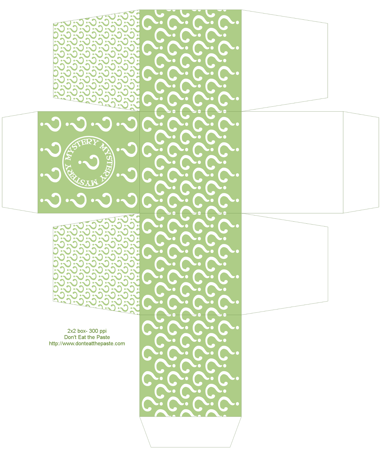 Printable mystery box- also available in orange, teal and purple #paper #crafts #partyideas
