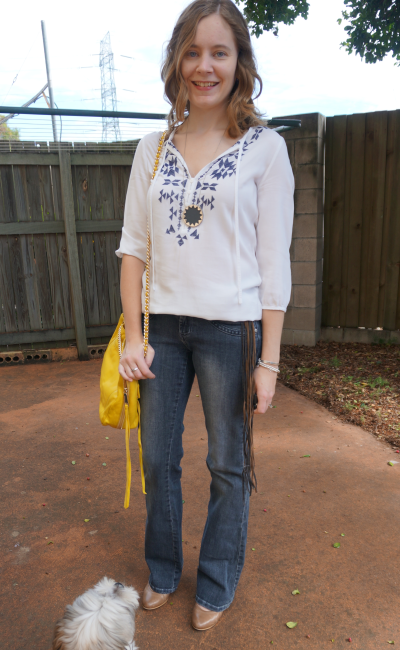 70s themed outfit for instagram style challenge suede fringe belt embroidered top flares