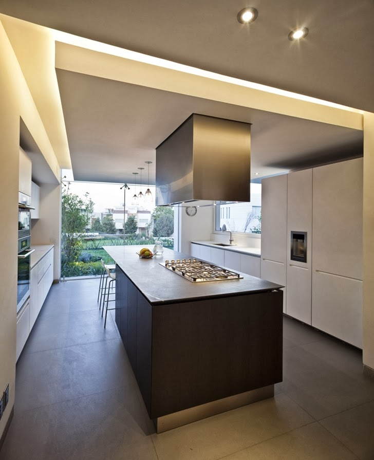 Kitchen in Contemporary Casa Río Hondo in Mexico City