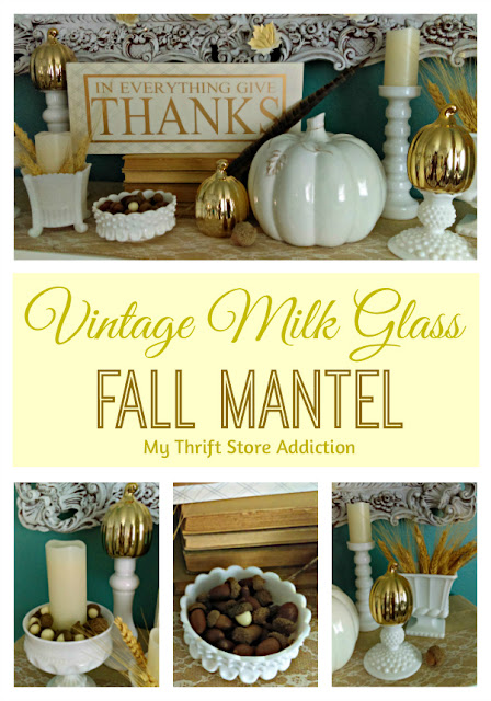 vintage milk glass fall mantel