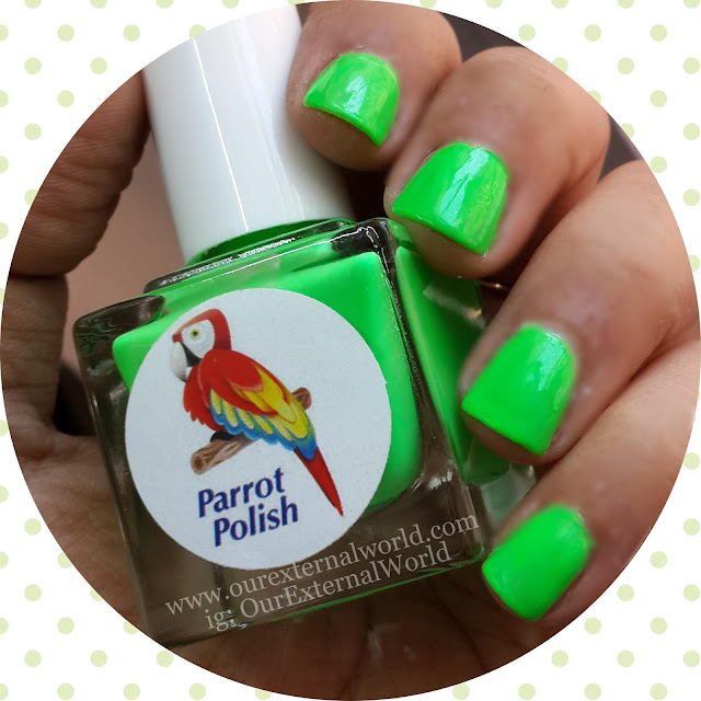 Parrot Polish Key Lime Swatches, Neon Green, Nail Blog