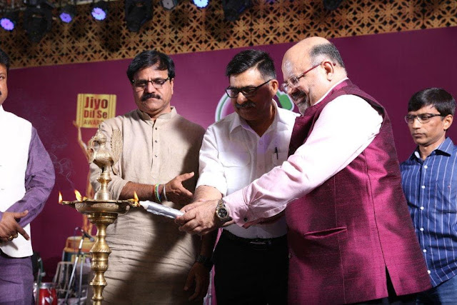 (Left to Right) Candle Lighting with Mr. Pramod Dubey, Mayor Nagar Nigam, Mr. K K Nayak, managing Editor  Dainik Bhaskar