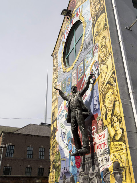 Comparing Belfast to Dublin: Jim Larkin statue and the spire
