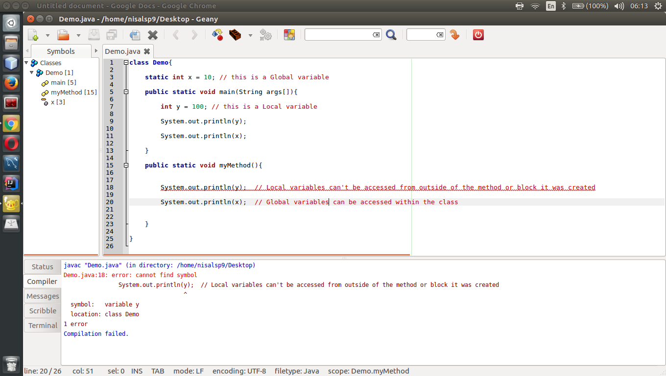 Java Programming For Absolute Beginners Local Variable Global