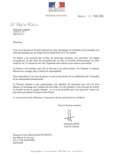Carta del Primer Ministro Francés a Peyroux