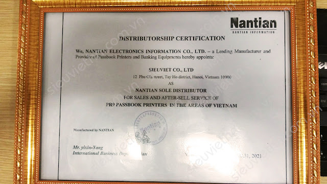 Nhà phân phối độc quyền máy in sổ Nantian PR9 tại Việt Nam.