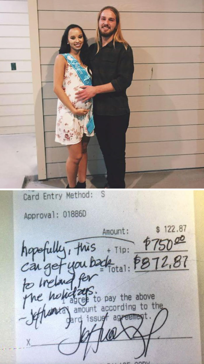 40 Times 2016 Restored Our Faith In Humanity - Irish Waiter Receives $750 Tip From A Customer So That He Can Fly Home For Christmas With His Girlfriend And Newborn Baby