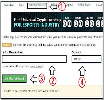 Menaruh Addres Bitcoin di Faucethub