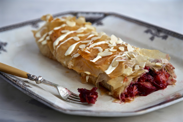 Pluot and white chocolate strudel recipe